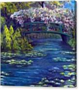 Bridge And Water Lillies Canvas Print