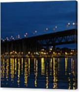 Bridge At Night In Vancouver Canvas Print