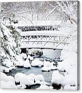 Bridge In Winter Snow Canvas Print