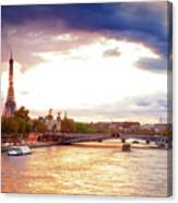 Bridge Of Alexandre IIi And Eiffel At Violet Sunset Canvas Print