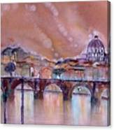 Bridge Of Angels - Rome - Italy Canvas Print
