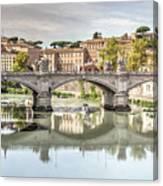 Bridge Over The River Tevere, Rome, Italy Canvas Print