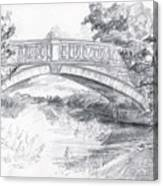 Bridge Over The River White Cart Canvas Print