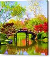 Bridge With Red Bushes In Spring Canvas Print