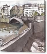 Bridging The Seine Canvas Print