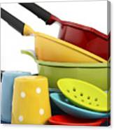 Bright Colorful Modern Kitchen Pot And Pans  Canvas Print