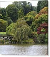 Bright Colors Of Autumn Trees On A Lake , Autumn Landscape. Canvas Print
