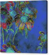 Bright Daisies In Blue Canvas Print
