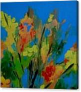 Bright Flowers On Blue Canvas Print