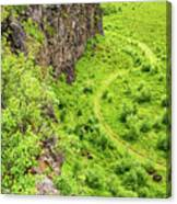 Bright Green Asbyrgi Canyon In Iceland Canvas Print