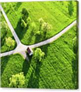 Bright Green Spring Meadow Aerial Photo Canvas Print