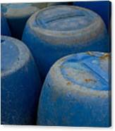 Brightly Colored Blue Barrels Canvas Print