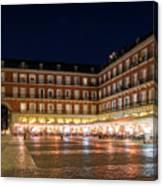 Brightly Lit Midnight - Plaza Mayor In Madrid Spain Canvas Print