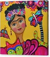 Brigit's Frida And Cat Canvas Print