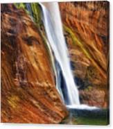 Brilliant Colored Walls Of Utah's Lower Calf Creek Falls. Canvas Print