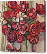 Brilliant Red Flower Oil Pastel Canvas Print