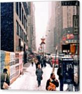 Broadway And 42nd Street 1985 Canvas Print