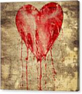 Broken And Bleeding Heart On The Wall Canvas Print