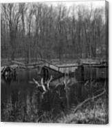 Broken Bridges In Black And White Canvas Print
