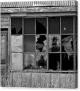 Broken Store Front Black White Canvas Print