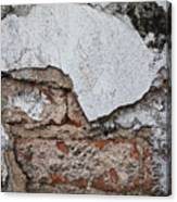 Broken White Stucco Wall With Weathered Brick Texture Canvas Print