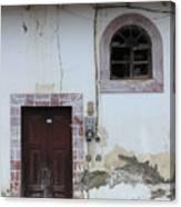 Broken Window And Wood Door Canvas Print