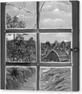 Broken Window In Black And White Canvas Print