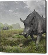 Brontotherium Wander The Lush Late Canvas Print