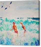Brooke And Carey In The Shore Break Canvas Print