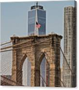Brooklyn Bridge And One World Trade Center In New York City  Canvas Print