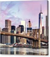 Brooklyn Bridge And Skyline At Sunrise, New York, Usa Canvas Print
