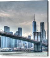 Brooklyn Bridge And The Lower Manhattan Financial District Canvas Print
