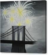 Brooklyn Bridge Fireworks Canvas Print