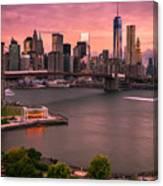 Brooklyn Bridge Over New York Skyline At Sunset Canvas Print
