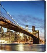 Brooklyn Bridge Panoramic At Night, New York, Usa Canvas Print