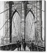 Brooklyn Bridge Promenade 1898 - New York Canvas Print