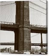 Brooklyn Bridge River Cafe Canvas Print