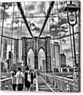 Brooklyn Bridge Walkway   B  And  W Canvas Print