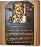 Brooks Robinson Hall Of Fame Plaque Canvas Print