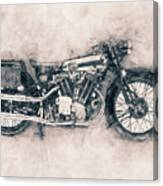 Brough Superior Ss100 - 1924 - Motorcycle Poster - Automotive Art Canvas Print