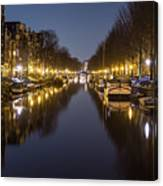 Brouwersgracht Canal In Amsterdam At Night. Canvas Print