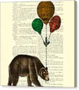 Brown Bear With Balloons Canvas Print