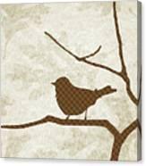 Brown Bird Silhouette Modern Bird Art Canvas Print