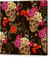 Brown Skulls And Flowers Canvas Print