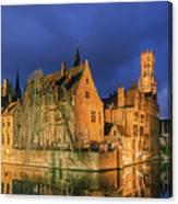 Bruges At Night, Belgium Canvas Print