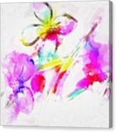Brushed Abstract Flowers Canvas Print