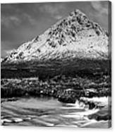 Buachaille Winter Panorama Mono Canvas Print