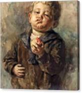 Bub Mit Apfel In Der Hand Canvas Print