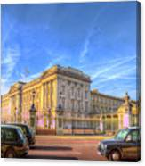 Buckingham Palace And London Taxis Canvas Print