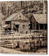Bucks County - Cuttalossa Mill In Sepia Canvas Print
